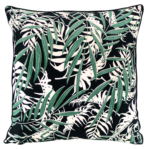 Palm Black Emerald Cushion Cover, Medium