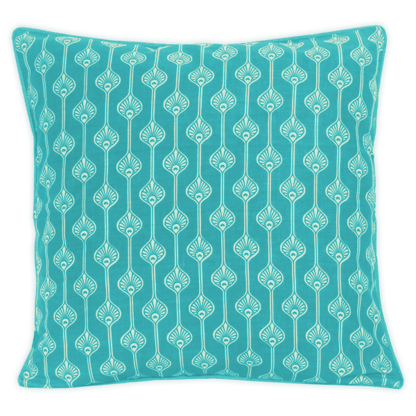 Peacock Stripe Turquoise Cushion Cover, Medium