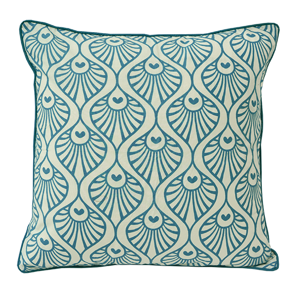 Peacock Wave Teal Cushion Cover, Medium