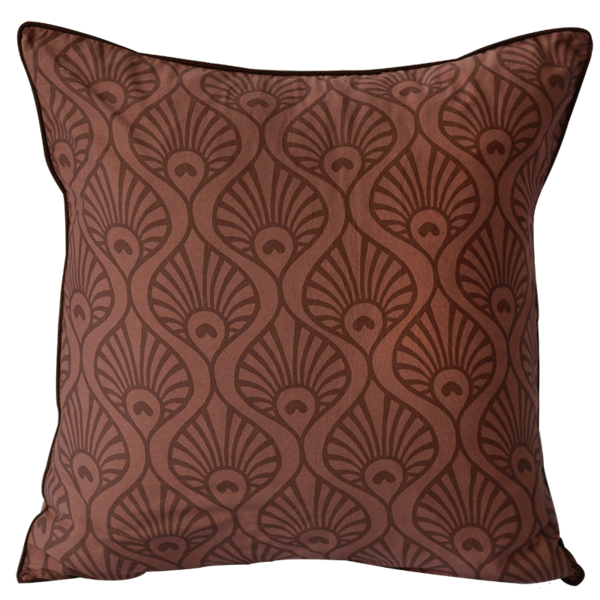 Peacock Wave Wine Cushion Cover, Medium