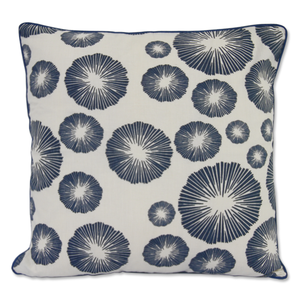 Seaflower Indigo Cushion Cover, Medium