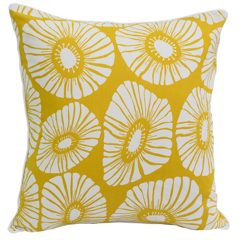 Citrus Yellow Retro Flowers Cushion Cover, Med/Large