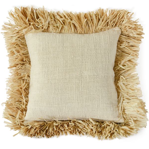 Natural Linen Fringe Cushion Cover, Med/Large