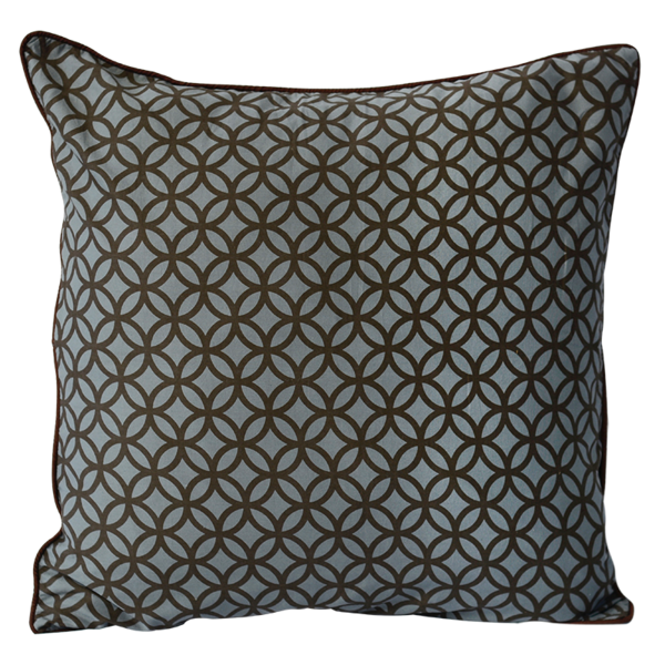 Mocha Blue Rings Cushion Cover, Med/Large