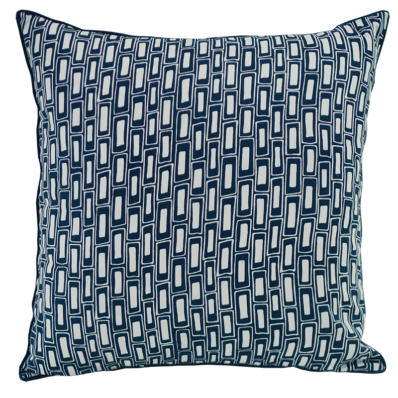 Rectangles Indigo Cushion Cover, Med/Large