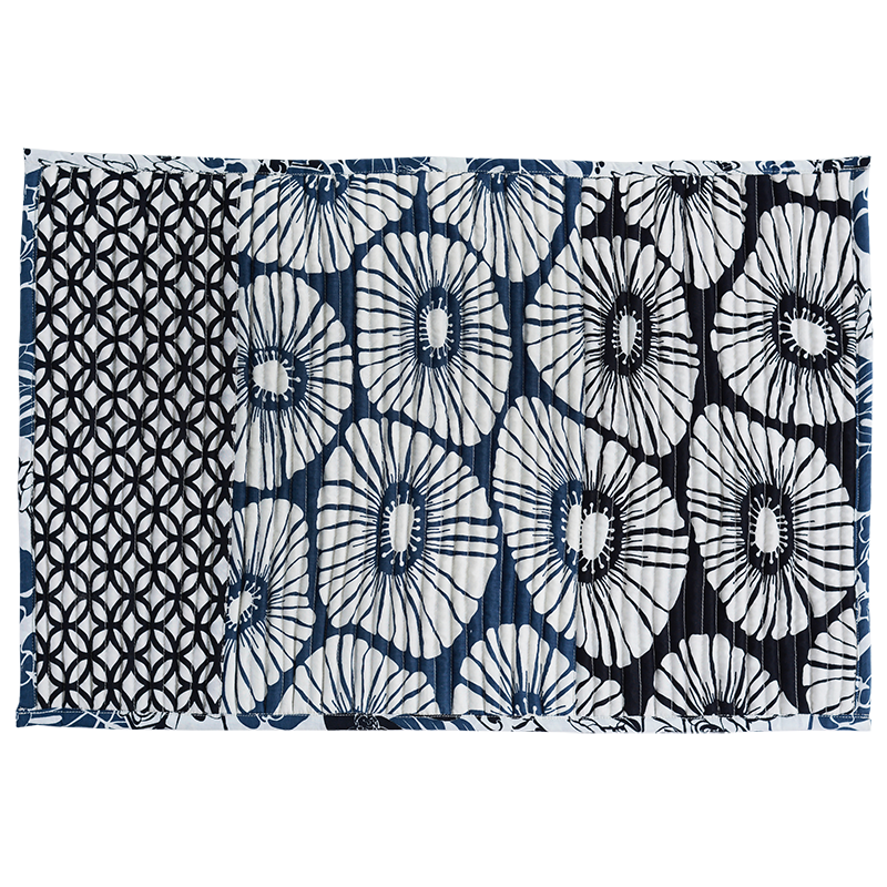 Black White & Blue Corded Mat