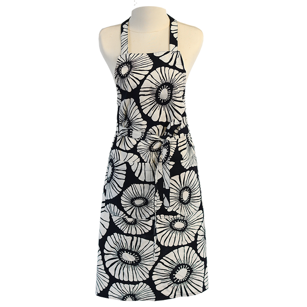 Retro Flower Black White Apron