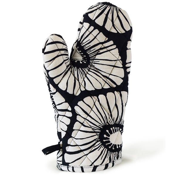 Retro Flowers Black White Oven Mitt