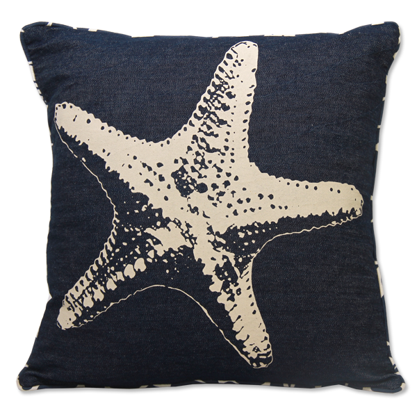Starfish Indigo Denim Cushion Cover, Small