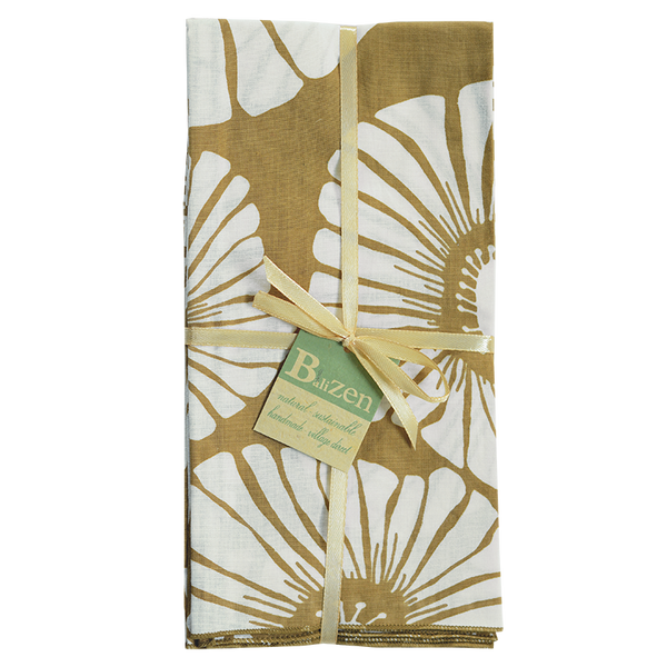 Retro Flowers Caramel Napkins set of 4
