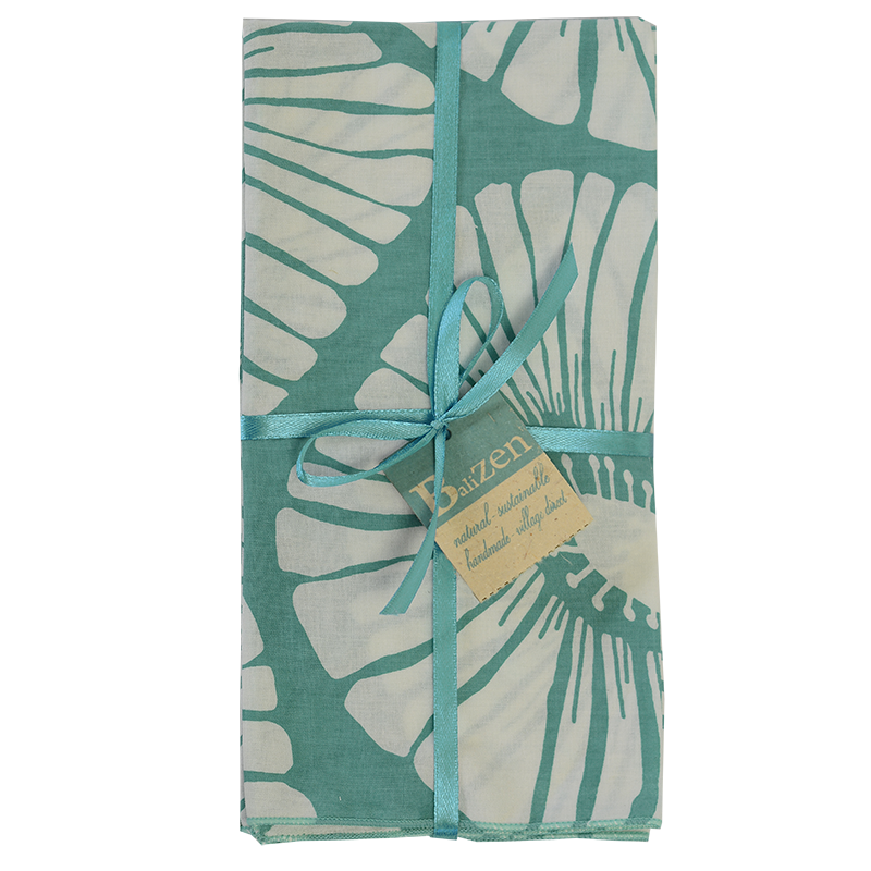 Turquoise Retro Flower Napkins set of 4