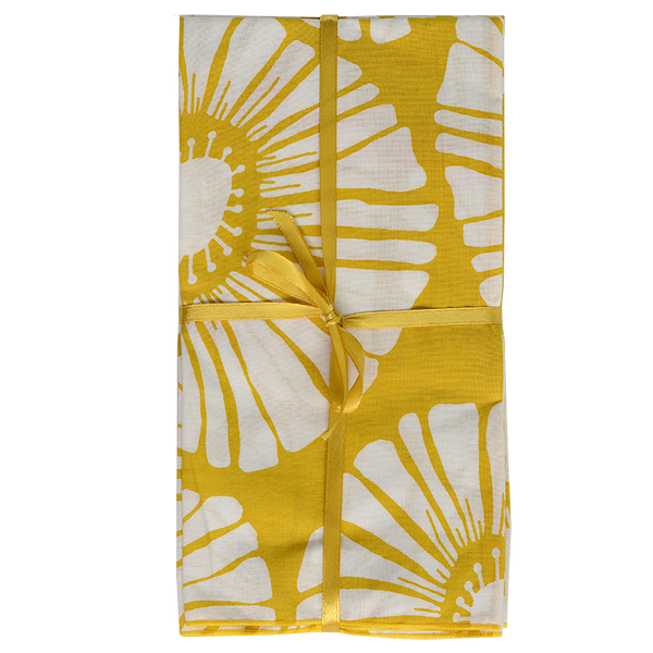 Yellow Retro Flower Napkins set of 4