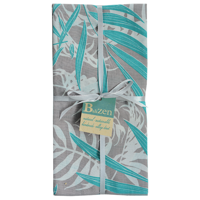 Palm Turquoise Grey Napkins set of 4