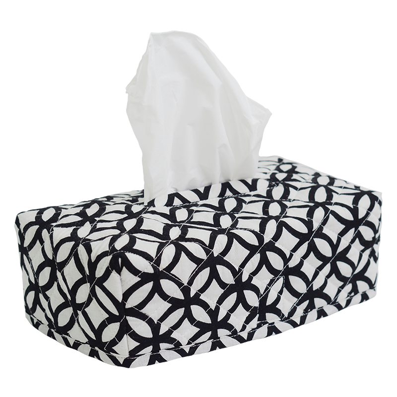 Rings Black & White Tissue Box Cover