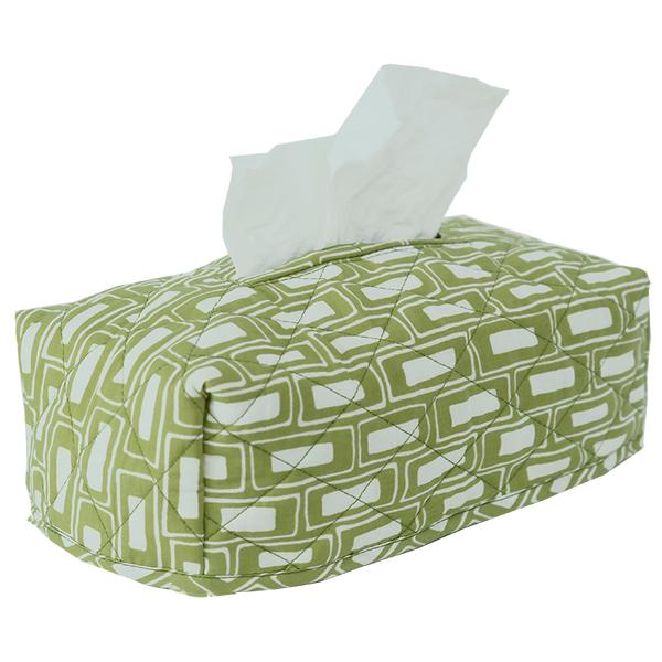 Rectangles Sage Tissue Box Cover