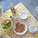 Yellow Retro Flowers Tablecloth, 2 sizes