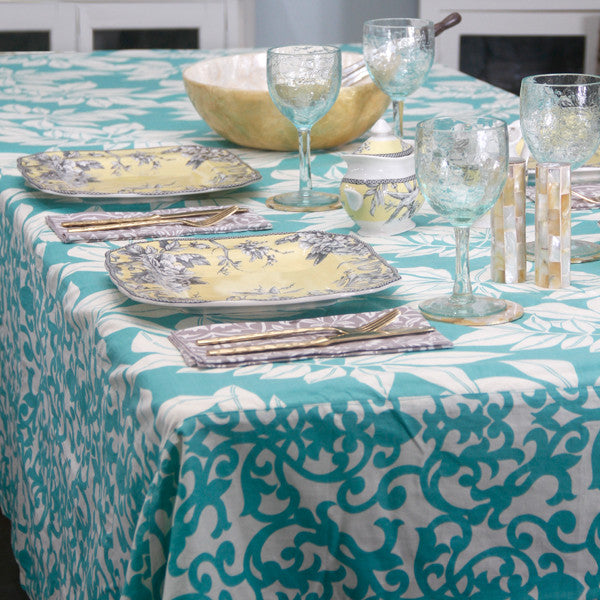 Leaf Turquoise Tablecloth, 2 sizes