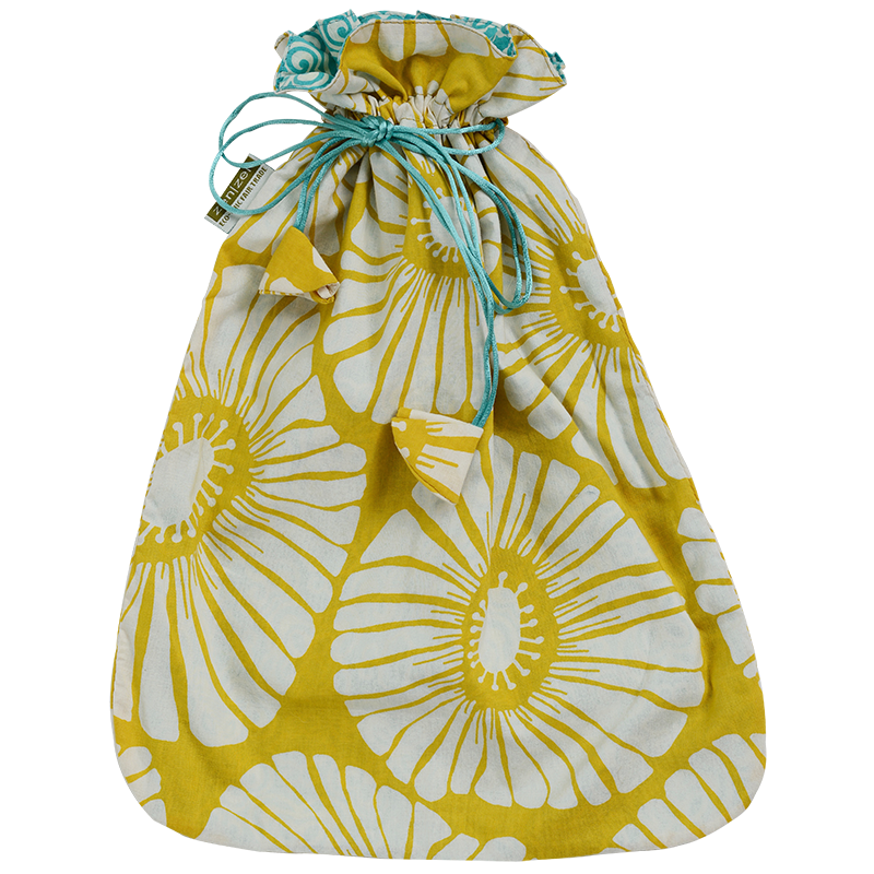Yellow Retro Flowers Drawstring Bag, Large