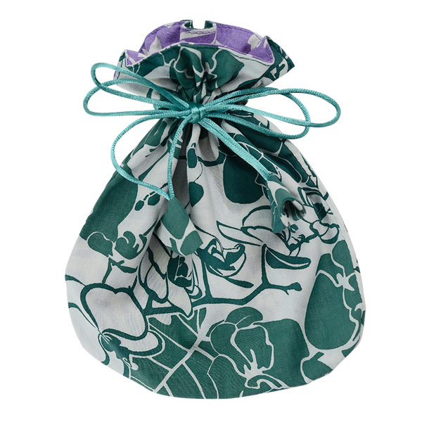 Emerald Orchid Drawstring Bag, Small