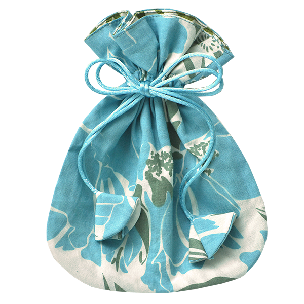 Rose Teal Drawstring Bag, Small