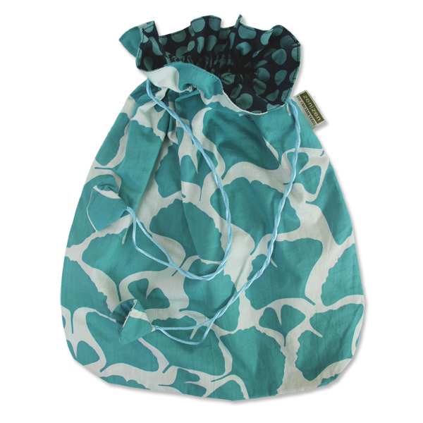 Ginkgo Teal Drawstring Bag, Large