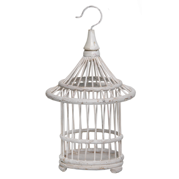White Bird Cage Ornament
