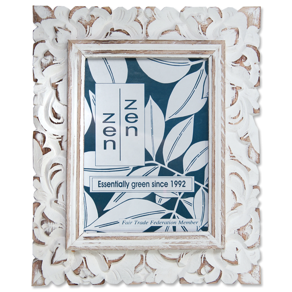 White Carved Frame, Medium