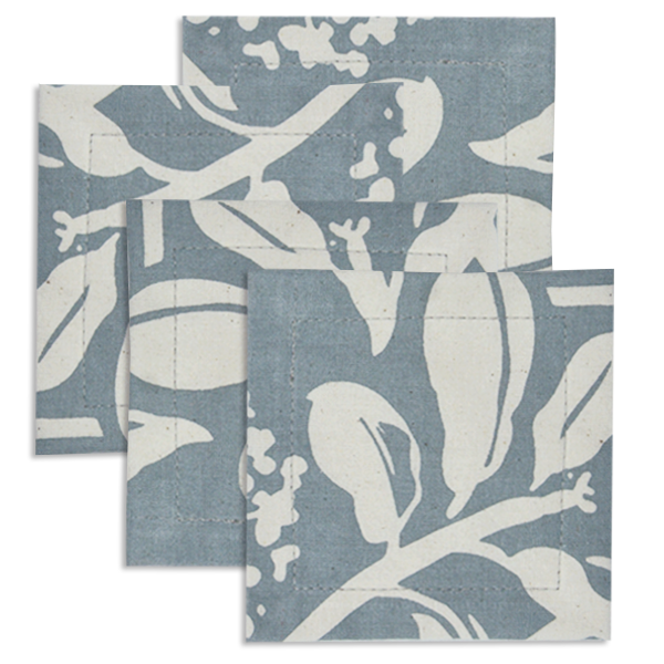 Frangipani Cool Grey Cotton Coaster, set of 4