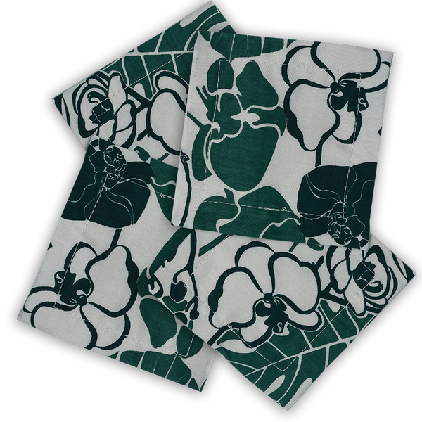 Orchid Emerald Cotton Coasters, set of 4