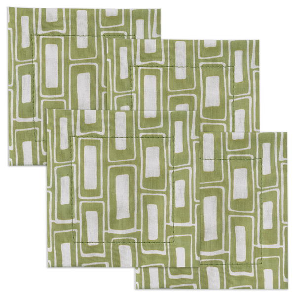 Rectangles Sage Cotton Coaster, set of 4