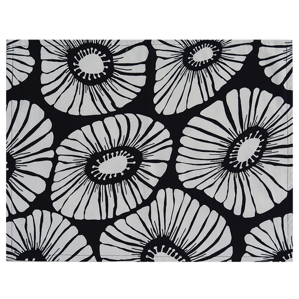 Retro Flowers Black Placemat, Set of 4