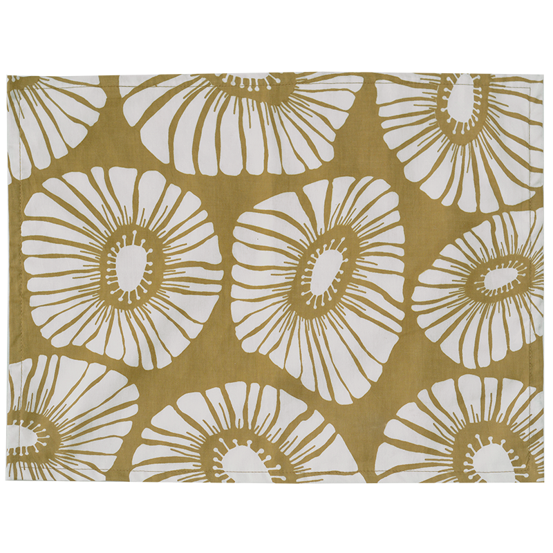 Retro Flowers Caramel Placemat, Set of 4