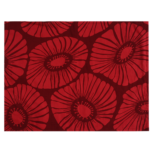 Retro Flowers Red Placemat, Set of 4