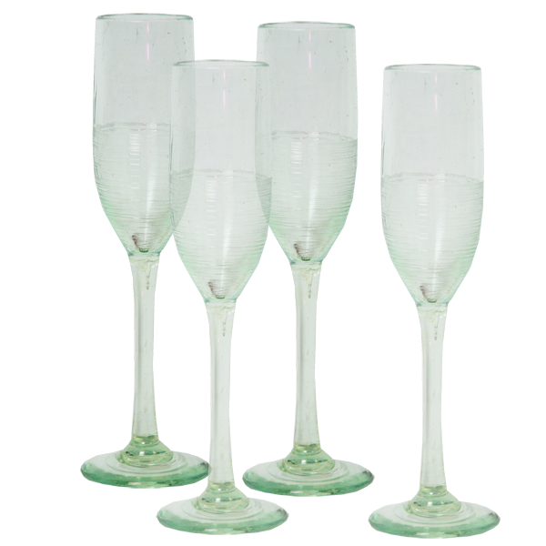 Scrappy Champagne Flutes, Set of 4