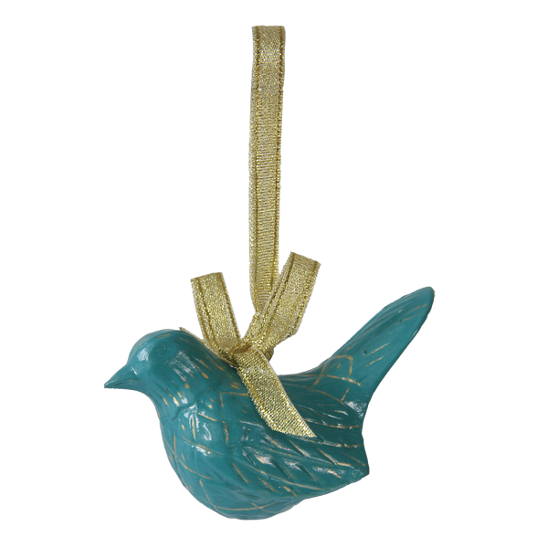 Teal Bird Ornament