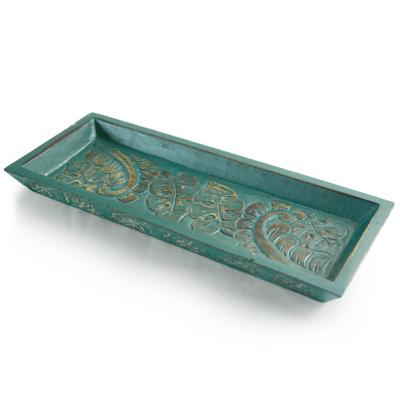 Teal Carved Wooden Mini Tray
