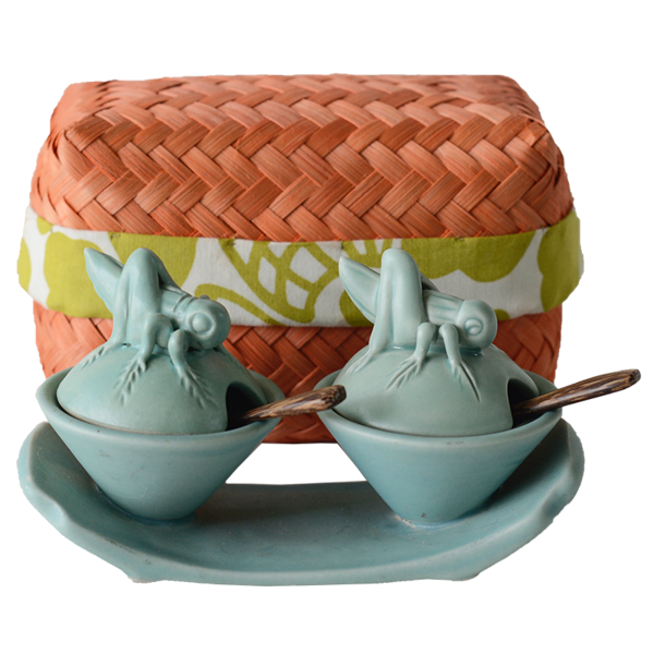 Celadon Ceramic Cricket Salt & Pepper