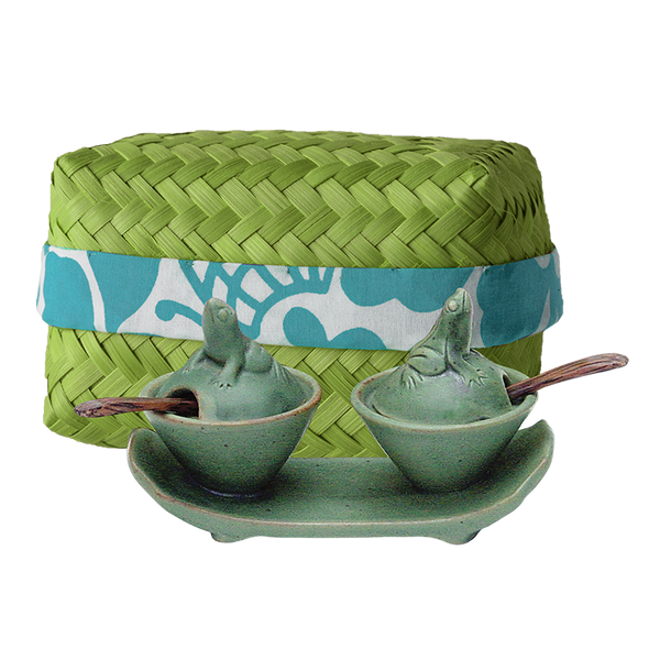 Celadon Ceramic Frog Salt & Pepper