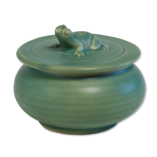 Celadon Ceramic Frog Sugar Bowl