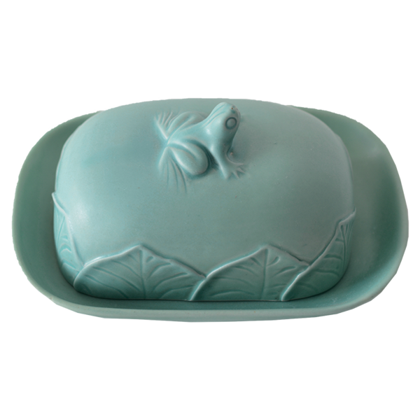 Celadon Continental Frog Butter Dish