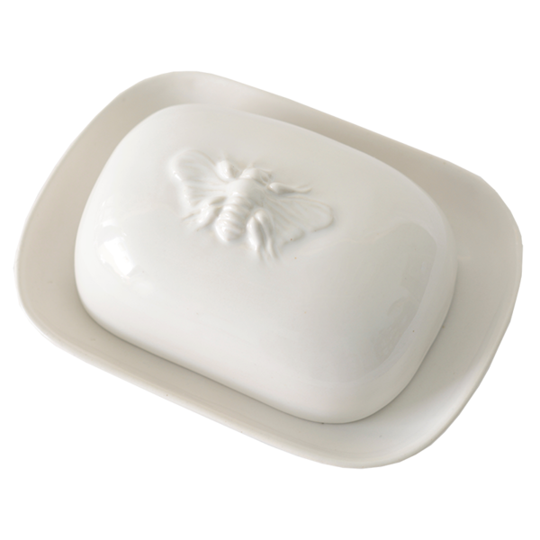 White Ceramic Bee Continental Butter Dish