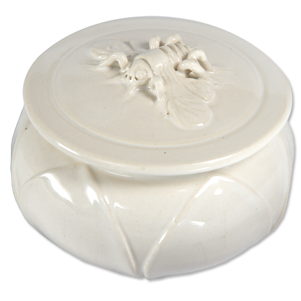 White Ceramic Bee Sugar Bowl