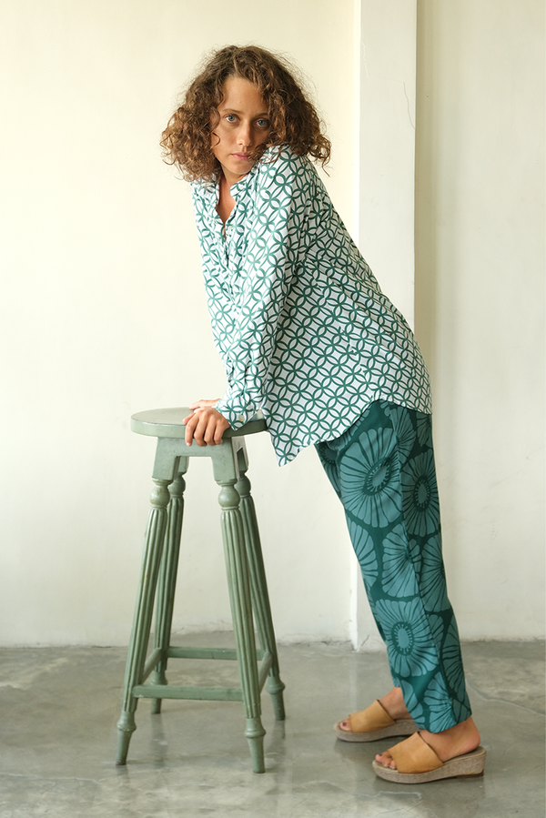 Retro Flowers Emerald Lounging Pants, 3 sizes