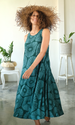 Retro Flower Emerald Swing Tank Dress, 3 sizes