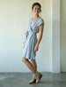 Ginkgo Grey Wrap Rayon Dress, 3 sizes