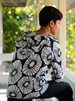 Black Retro Flower Cotton Hoodie, 3 sizes
