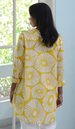 Yellow Retro Flower Voile Shirt, 3 Sizes