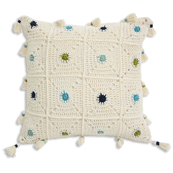 Boho Dots Crochet Cushion Covers - Cool