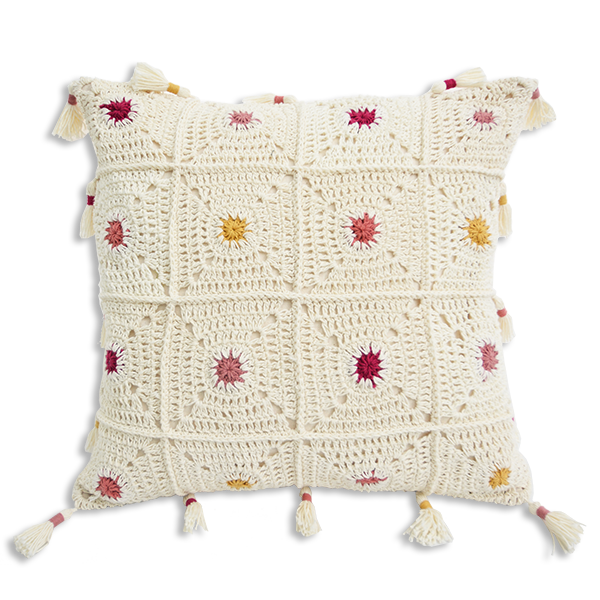 Boho Dots Crochet Cushion Covers - Warm