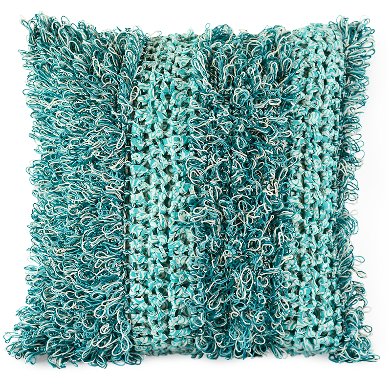 Turquoise Fluffy Crocheted Cushion Cover, Med/Large